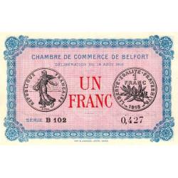 Belfort - Pirot 23-9 - 1 franc - Série B 102 - 18/08/1915 - Etat : SUP
