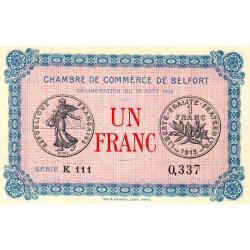 Belfort - Pirot 23-9 variété - 1 franc - Série K 111 - 18/08/1915 - Etat : NEUF