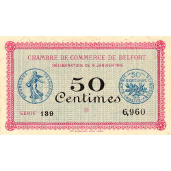 Belfort - Pirot 23-17 - 50 centimes - 1916 - Etat : SUP
