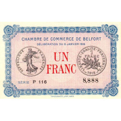 Belfort - Pirot 23-21 - 1 franc - Série P 116 - 06/01/1916 - Etat : NEUF