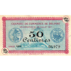 Belfort - Pirot 23-26 - 50 centimes - 1917 - Etat : SPL