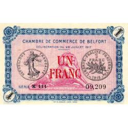 Belfort - Pirot 23-29 - 1 franc - Série K 111 - 28/07/1917 - Etat : SPL