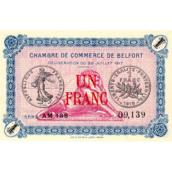 Belfort - Pirot 23-32 - 1 franc - Série AM 188 - 28/07/1917 - Etat : NEUF