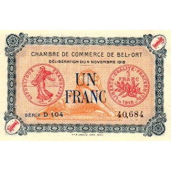 Belfort - Pirot 23-37 - 1 franc - 1918 - Etat : TTB