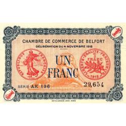 Belfort - Pirot 23-40 - 1 franc - Série AK 136 - 04/11/1918 - Etat : SPL+