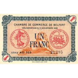 Belfort - Pirot 23-45 - 1 franc - Série AU 146 - 04/11/1918 - Etat : SUP