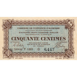 Auxerre - Pirot 17-11 - 50 centimes - Série T 120 - 10/08/1916 - Etat : TTB à SUP