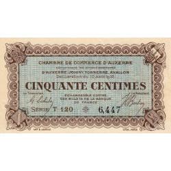 Auxerre - Pirot 17-11-T - 50 centimes - 1916 - Etat : TTB à SUP