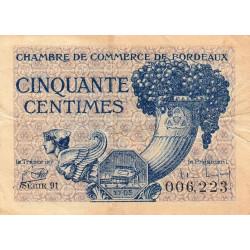 Bordeaux - Pirot 30-28 - 50 centimes - Série 91 - 1921 - Etat : TB+