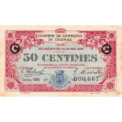 Cognac - Pirot 49-9 - 50 centimes - Série 191 - 22/05/1920 - Etat : TB