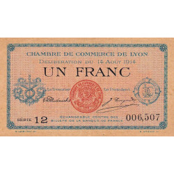 Lyon - Pirot 77-1b - 1 franc - 1914 - Etat : TTB+