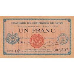 Lyon - Pirot 77-1b - 1 franc - Série 12 - 14/08/1914 - Etat : TTB+