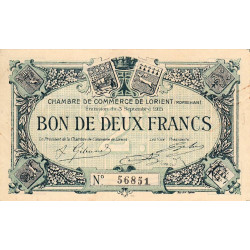 Lorient (Morbihan) - Pirot 75-11 - 2 francs - 1915 - Etat : TTB+