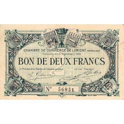 Lorient (Morbihan) - Pirot 75-11 - 2 francs - Sans Série - 03/09/1915 - Etat : TTB+