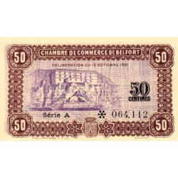 Belfort - Pirot 23-56 - 50 centimes - Série A - 12/10/1921 - Etat : SPL