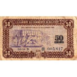 Belfort - Pirot 23-56 - 50 centimes - Série B - 12/10/1921 - Etat : TB-