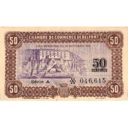 Belfort - Pirot 23-56 - 50 centimes - Série A - 12/10/1921 - Etat : TTB+