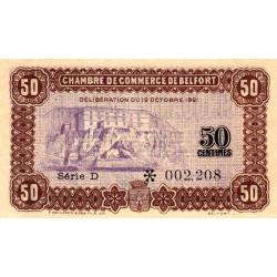 Belfort - Pirot 23-56 - 50 centimes - Série D - 12/10/1921 - Etat : SPL