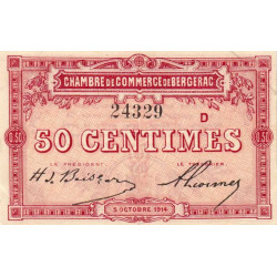 Bergerac - Pirot 24-10 - 50 centimes - Série D - 05/10/1914 - Etat : SPL