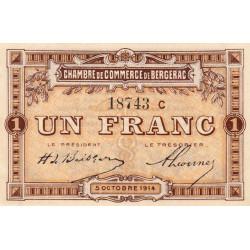 Bergerac - Pirot 24-13 variété - 1 franc - Série C - 05/10/1914 - Etat : SPL