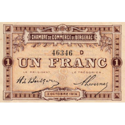 Bergerac - Pirot 24-15 variété - 1 franc - Série D - 05/10/1914 - Etat : SPL-