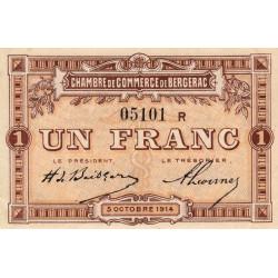 Bergerac - Pirot 24-16 - 1 franc - Série R - 05/10/1914 - Etat : SPL-