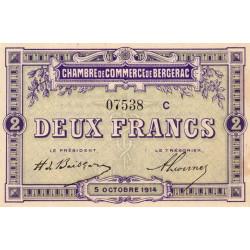 Bergerac - Pirot 24-19 - 2 francs - Série C - 05/10/1914 - Etat : SUP+