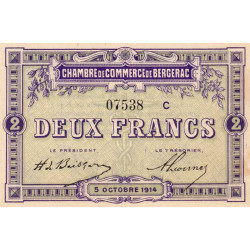 Bergerac - Pirot 24-19a - 2 francs - Etat : SUP+