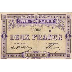 Bergerac - Pirot 24-21 - 2 francs - Série D - 05/10/1914 - Etat : TTB-