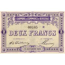 Bergerac - Pirot 24-22 variété - 2 francs - Série R - 05/10/1914 - Etat : NEUF