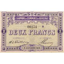 Bergerac - Pirot 24-22 - 2 francs - Série R - 05/10/1914 - Etat : SPL