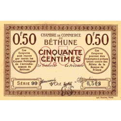 Béthune - Pirot 26-1 - 50 centimes - 1915 - Etat : SUP+