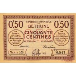 Béthune - Pirot 26-15 - 50 centimes - Série 375 - 17/04/1916 - Etat : NEUF