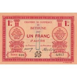 Béthune - Pirot 26-17 - 1 franc - Série 696 - 17/04/1916 - Etat : SPL