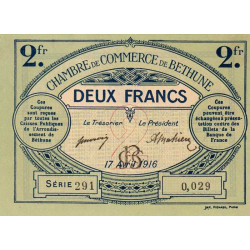 Béthune - Pirot 26-19 - 2 francs - Série 291 - 17/04/1916 - Etat : NEUF