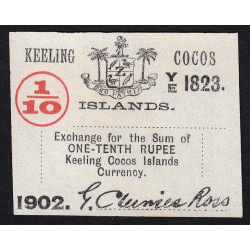Australie - Keeling Cocos Islands - Pick S 123 - 1/10 roupie - 1902 - Etat : NEUF