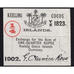 Australie - Keeling Cocos Islands - Pick S 124 - 1/4 roupie - 1902 - Etat : SPL