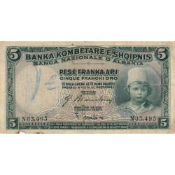 Albanie - Pick 2b - 5 franc or - Série N - 1926 - Etat : TB-