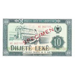 Albanie - Pick 43s2 - 10 lekë - Série XE - 1976 - Spécimen - Etat : NEUF