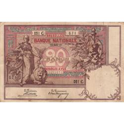Belgique - Pick 62a - 20 francs - 20/11/1896 - Etat : TB+
