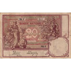 Belgique - Pick 62b - 20 francs - 1905 - Etat : TB-