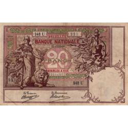 Belgique - Pick 62d - 20 francs - 31/07/1906 - Etat : TTB