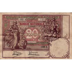 Belgique - Pick 62d - 20 francs - 1907 - Etat : TB+