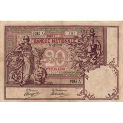 Belgique - Pick 62d - 20 francs - 31/08/1907 - Etat : TTB