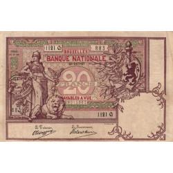 Belgique - Pick 62d - 20 francs - 25/10/1907 - Etat : TTB+