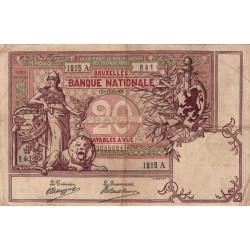 Belgique - Pick 62d - 20 francs - 1908 - Etat : TB+
