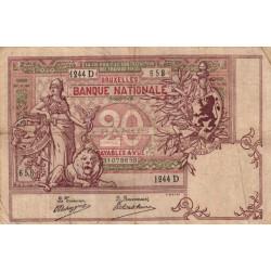 Belgique - Pick 62d - 20 francs - 07/09/1908 - Etat : TB+