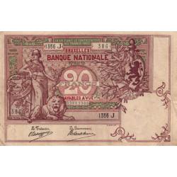 Belgique - Pick 62d - 20 francs - 1909 - Etat : TTB-