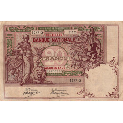 Belgique - Pick 62d - 20 francs - 02/07/1909 - Etat : TTB-