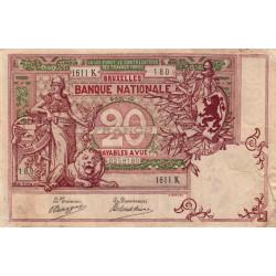 Belgique - Pick 67 - 20 francs - 02/11/1910 - Etat : TB+